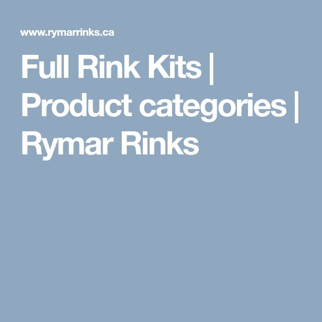 Full Rink Kits | Product categories | Rymar Rinks