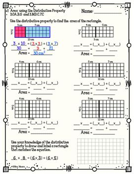 This product helps you teach the concept of Area using the distributive property of multiplication. I have found that students are more successful with this complex concept if they have repeated practice over several days. The one or two days provided in core math curriculum is insufficient for students to gain a working understanding of the Area using distributive property concept.