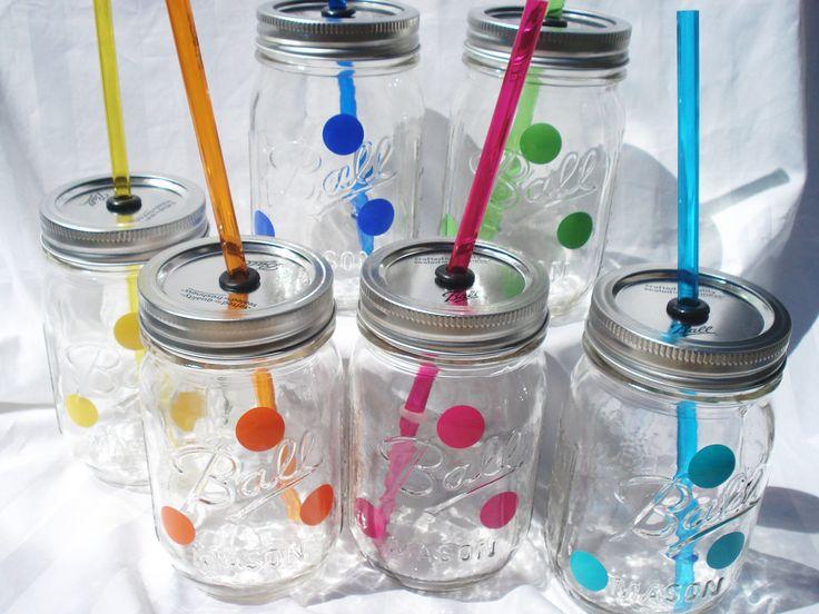 Graduation Party Centerpiece See More Mix And Match Polka Dot Mason Jars W Matching Reusable BPA Free Straws