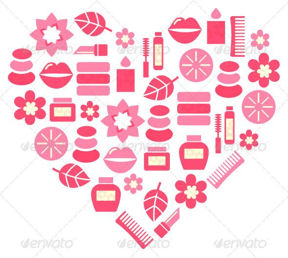 Pink Abstract Heart From Cosmetic Accessories