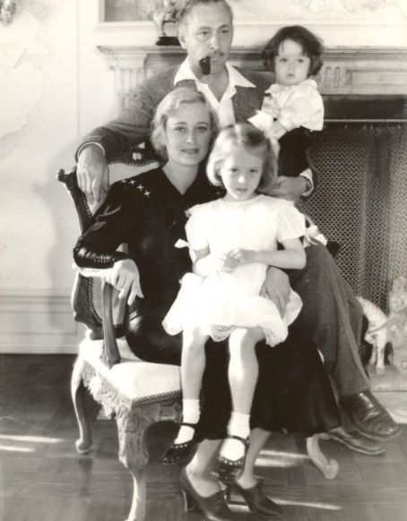 Dolores Costello Barrymore with husband John, daughter Dede and son John, Jr.  C. Early 1930s