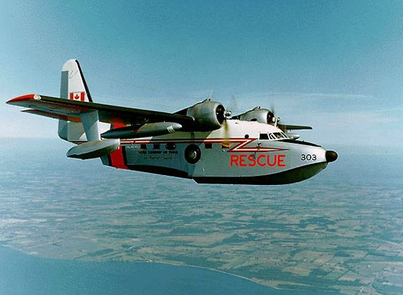 "In the 60s the Royal Canadian Air Force operated ten Grumman Albatross aircraft in the rescue role, some of which they had configured in a uniquely Canadian manner - as ""tri-phibians"" - usable on water, runways and snow."