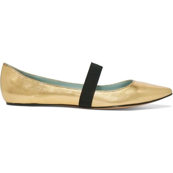 MARC JACOBS   Hasley metallic leather point-toe ballet flat ($175) ❤ liked on Polyvore featuring shoes, flats, ballet pumps, leather slip on shoes, leather pointy toe flats, leather flats and pointy-toe flats