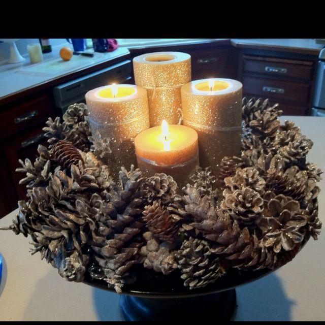 Advent pinecone wreath
