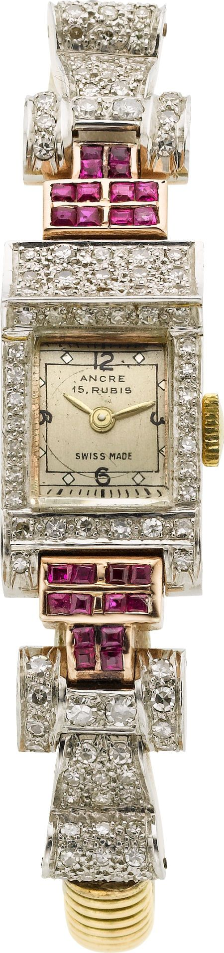 Swiss Rose Gold Retro Watch With Diamonds  Rubies