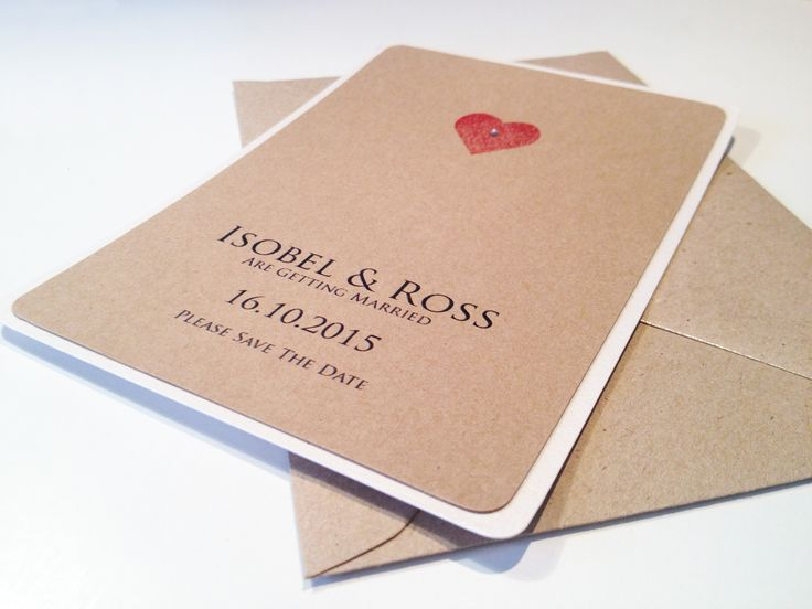 Vintage Love Heart Wedding Save The Date cards by Bliss Designs.  Quality 300gsm brown kraft card mounted on stunning 300gsm ivory pearlised card.  Small red heart with subtle gem embellishment.  www.blissdesigns.co.uk blissdesigns@live.co.uk https://www.facebook.com/pages/Bliss-Designs/438434139611482?ref=hl