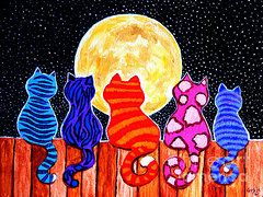 """Starry Night Paintings - Meowing at Midnight"" by artist Nick Gustafson via 'FineArtAmerica' ✽❤❦❤✽"