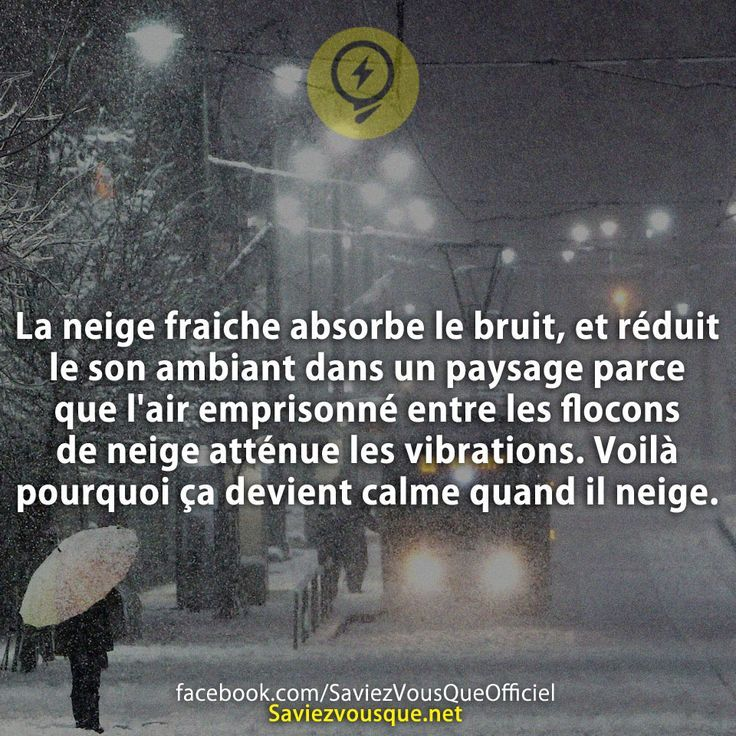 La neige fraiche absorbe le bruit, et réduit le son ambiant dans un paysage parce que l'air emprisonné entre les flocons de neige atténue les vibrations. Voilà pourquoi ça devient calme quand il neige.   Saviez-vous que ?