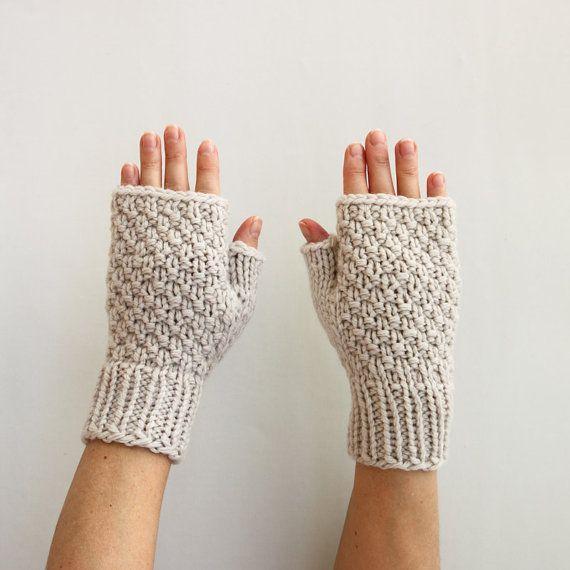 Grey Fingerless Gloves Gift for Her by HappyLaika on Etsy