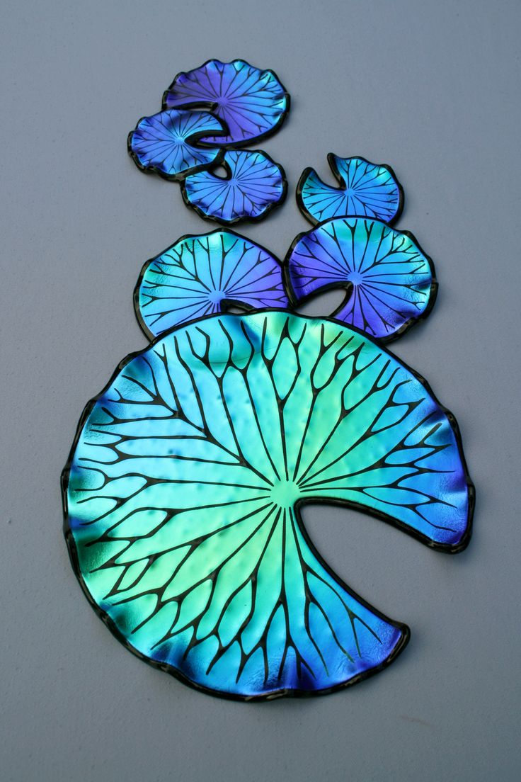 There's just something about dichroic glass - Laurel Yourkowski lily pads - dichroic glass