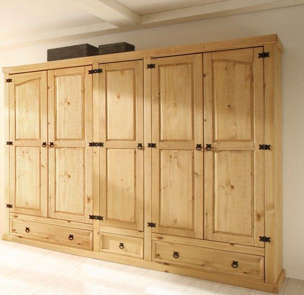 kleiderschrank merida pinie massiv hellbraun. Black Bedroom Furniture Sets. Home Design Ideas