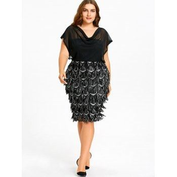 Plus Size Sheer Sequined Fitted Dress - BLACK 2XL