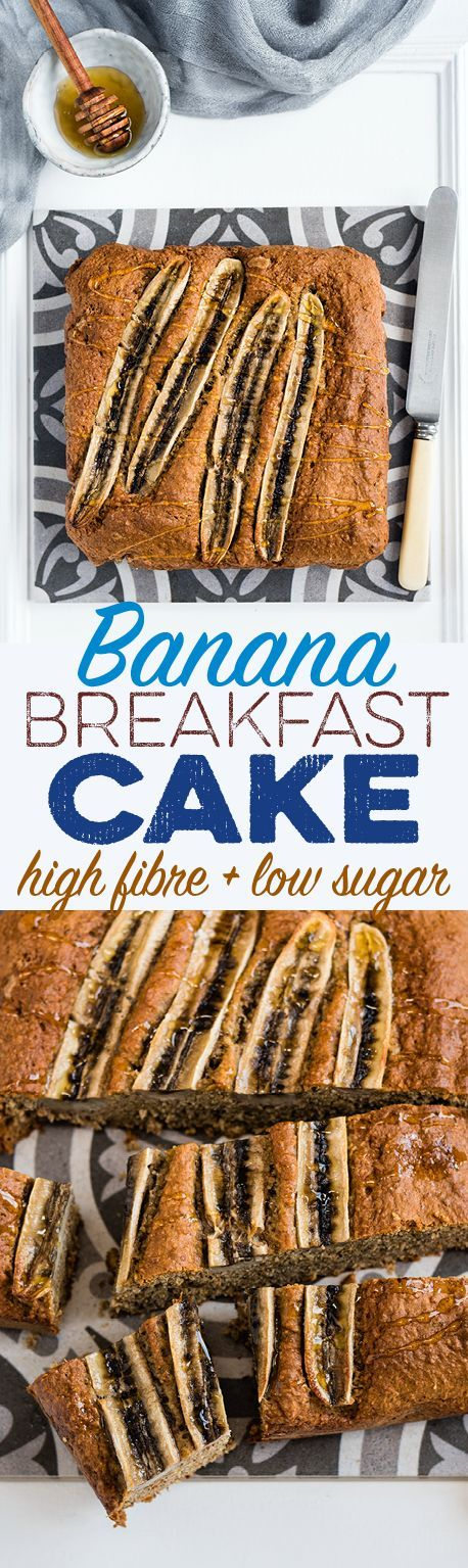 Banana breakfast cake - low in sugar and high in fibre! Perfect toasted and drizzled with a little honey.
