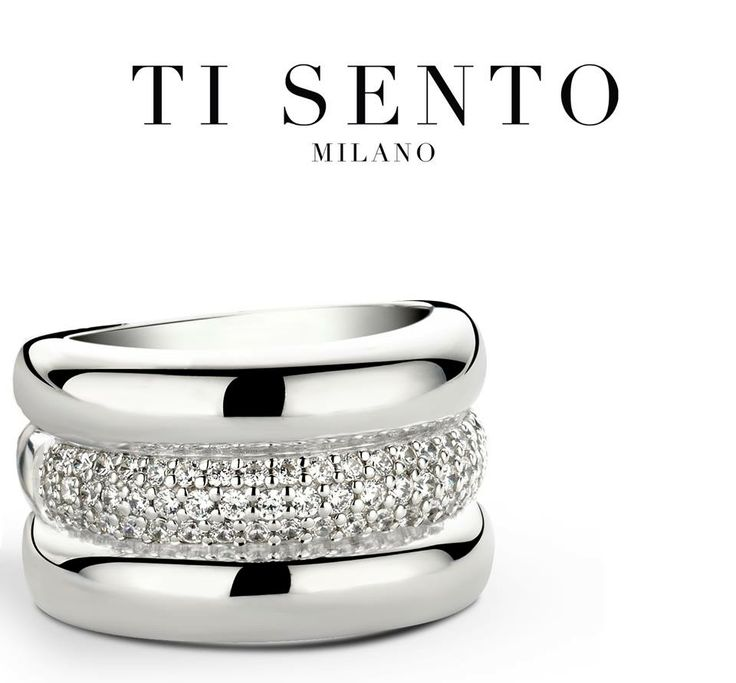 If you like your rings big then you'll love this Ti Sento one....polished sterling silver and pave set centre ring