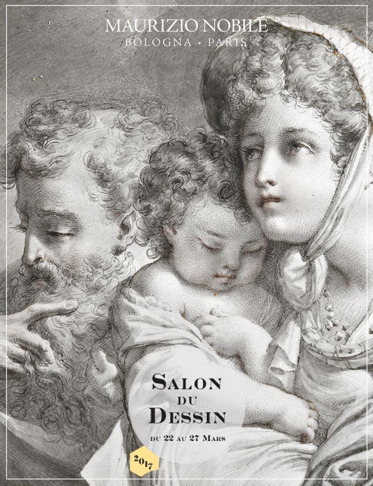 Mauro Gandolfi (Bologna 1764 – 1834) Sacra Famiglia  Penna, inchiostro, e gesso rosso su pergamena