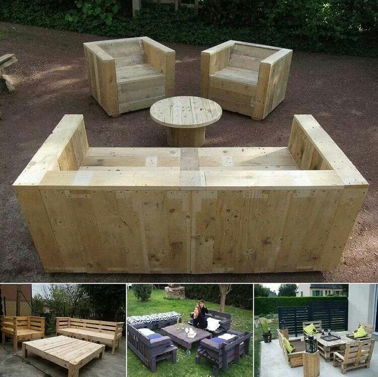Bauholz Lounge Eckbank für den Garten - Bauholz Gartenmöbel