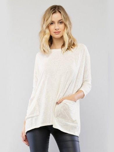 Boxy Knit Top With Pocket Detal