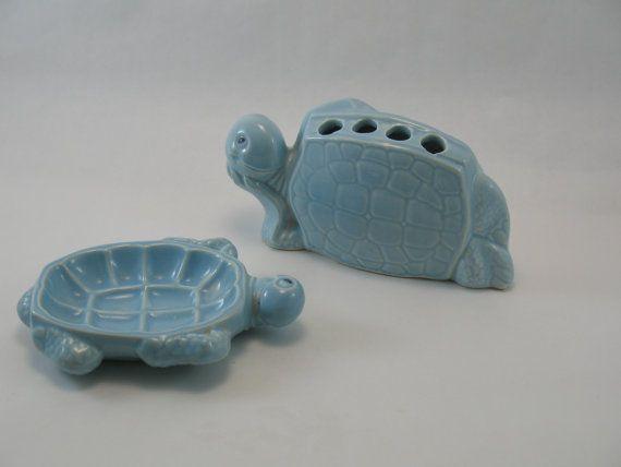 Vintage Haeger Pottery Turtles Bathroom Accessories / Childrenu0027s Kitsch  Blue Turquoise Mid Century Art Ceramic Retro Toothbrush Holder Child