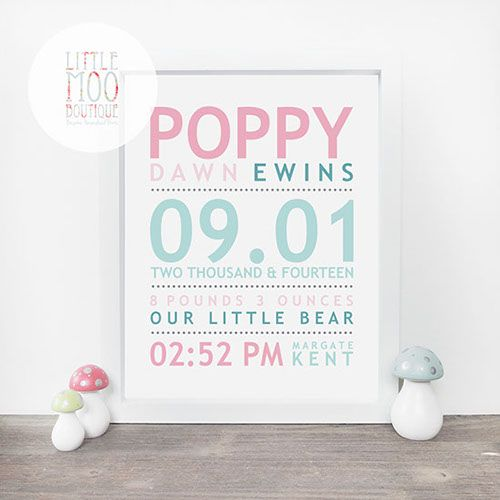 14 best new baby gifts images on pinterest personalised baby girl name print little moo boutique negle Image collections