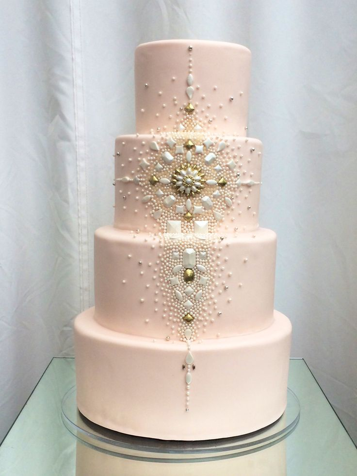 Superfine Bakery's blingfest on cake! All-sugar jewels adorn this blush cake for 100 at the Huntley rooftop penthouse in Santa Monica.