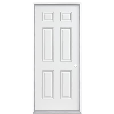 Visit The Home Depot To Buy Masonite 32 In Jet Black Prehung Right Hand Inswing Steel Entry Door Vinyl Frame 19983