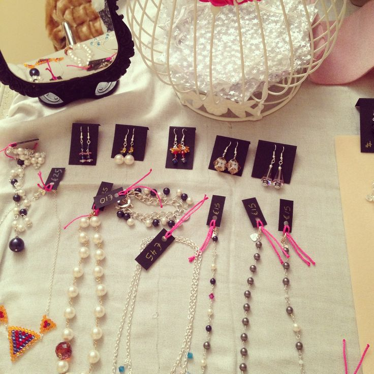Jewellery 'stall' set up in an office canteen