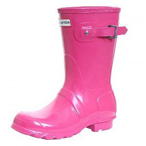 Hunter Boot Ltd. Short Gloss Welly Boot at Robert Frost in Traverse City and Petoskey Michigan Pink and Yellow Rubber Wellington Rainboots