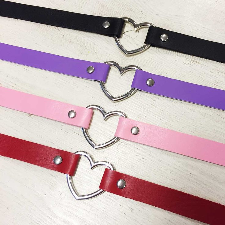 Leather heart chokers. Join the trend. Which colour is your favourite?