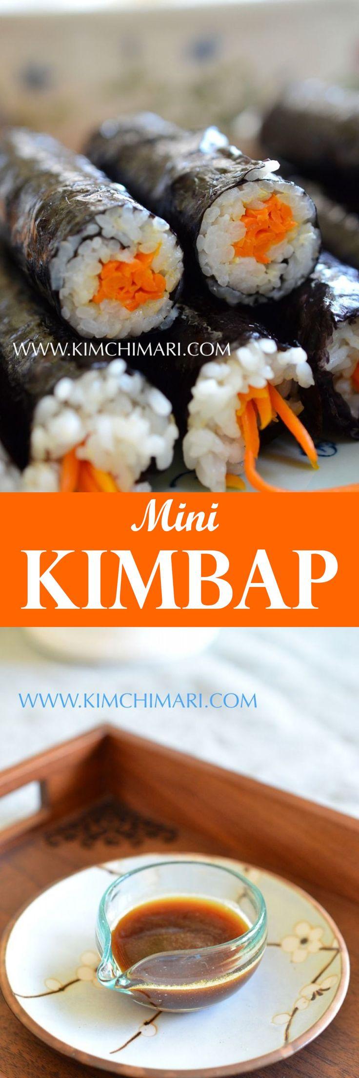 Mini Kimbap with magic sauce ( mayak soy sauce).  You cannot stop eating once you start!  | Kimchimari.com