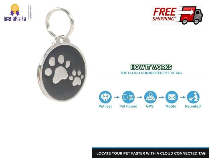 Smart Pet ID dog cat finder Tag QR Code NFC Scan GPS Location cloud Paws black | eBay