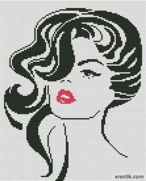 Девушка №12 Люди Монохром  Схема для вышивки scheme for cross stitch