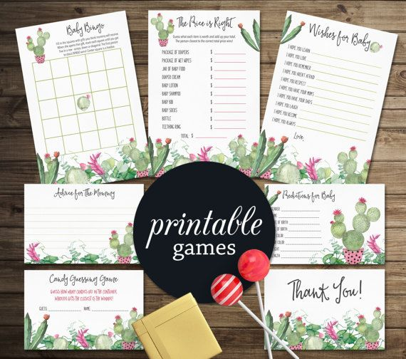 Fiesta Baby Shower Games, Boho Baby Shower Games Package, Girl Baby Shower Games, Cactus Succulent Baby Shower games Pack PRINTABLE FILE. Baby shower activities. tranquillina.etsy.com