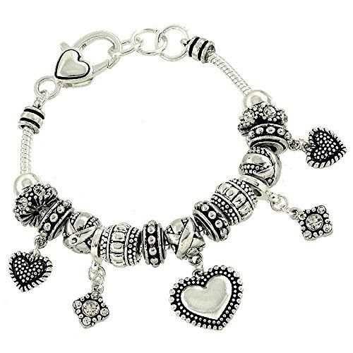 Heart Charm Bracelet C50 Clear Crystal Rhondelle Beads Si... www.amazon.com/...