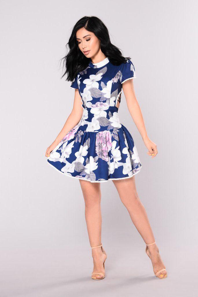 Gwyneth Floral Dress - Navy