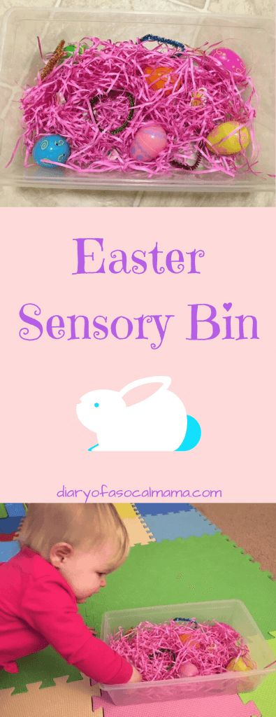 Looking for fun Easter themed activities for your kids? Check out this fun sensory bin made with items from the dollar store. Great for babies or toddlers. #toddler #sensory #baby #easter #dollartree