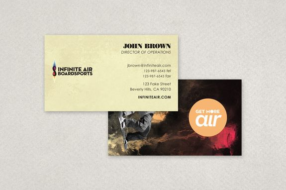 Snowboard Apparel Business Card Template - A snowboard apparel company could utilize this business card.  The graphic on the reverse side of the business card utilizes a blending of images and colors, which captures the adventuresome essence of snowboarding.