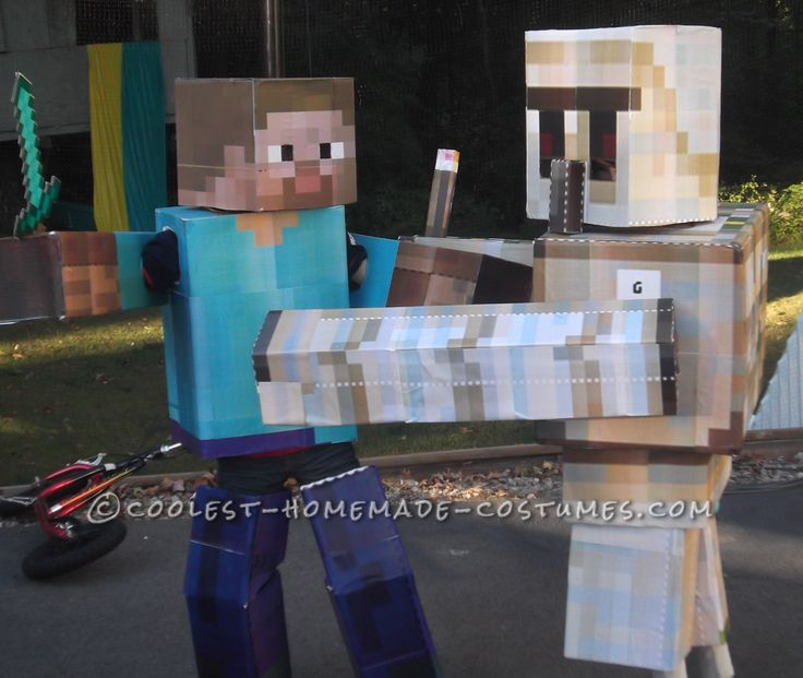 Cool DIY Cardboard Box Costumes: Minecraft Iron Golem and Herobrine… Enter the Coolest Halloween Costume Contest at http://ideas.coolest-homemade-costumes.com/submit/