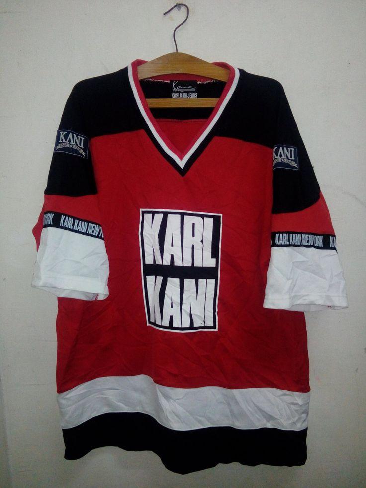 SALE Rare!! Vintage 90's Karl Kani Jeans Big Logo run DMC theme Colors Spell Out Designed Jersey Shirt Hip Hop Era Size L by MalayaThriftZone on Etsy