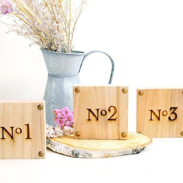 Numero mesa madera bodas rusticas