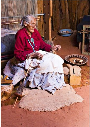Navajo spinning using a long, bottom-whorl spindle, which is supported on the ground, and spun by running the shaft along the thigh.