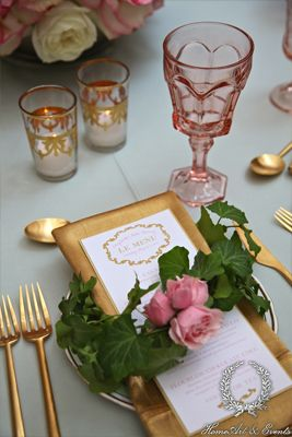French inspired baby shower at Il Cielo in Beverly Hills, California. Love the mint table cloths and gold napkins! Designed by HomeArt & Events, Linens by La Tavola Linen, Flowers by Marks Garden, Tableware by Casa de Perin.