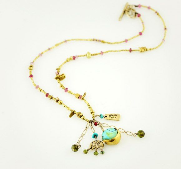 Jes necklace: Limited Edition ~ 22k. and 24k. yellow gold ancient Tibetan gold hand made beads – over 500-600 years old, turquoise, tourmaline and spinel. 14k. Jes charms. Extremely rare as each one vairies.