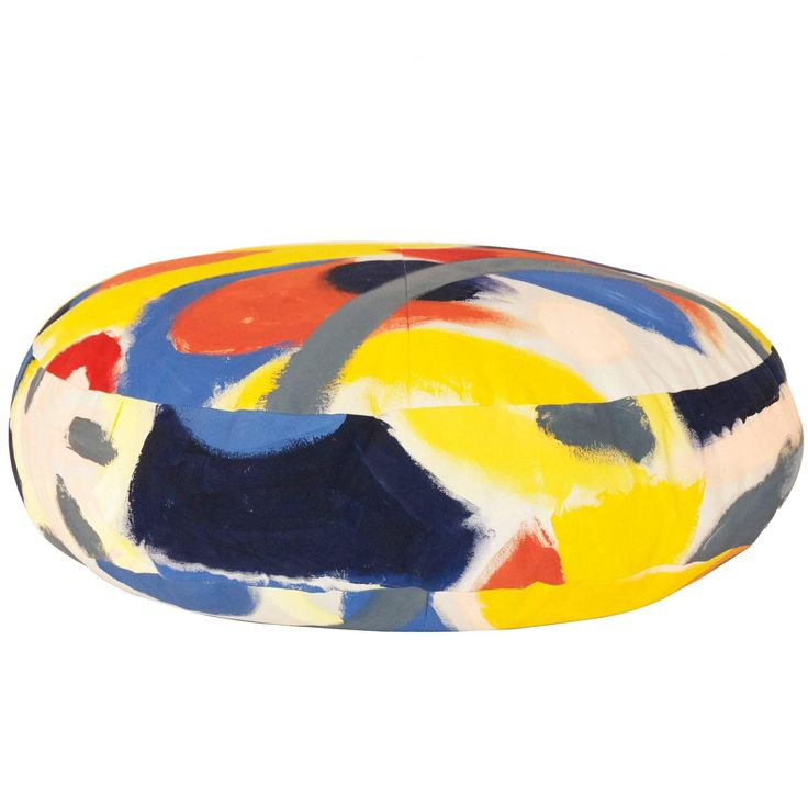 Multicolored Hand-Painted Canvas Circle Ottoman
