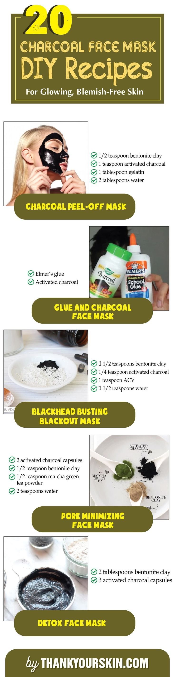DIY Charcoal Face Mask - Easy homemade recipes for getting rid of blackheads with Activated Charcoal - Peel off - #CharcoalFaceMask #DIY #ThankYourSkin