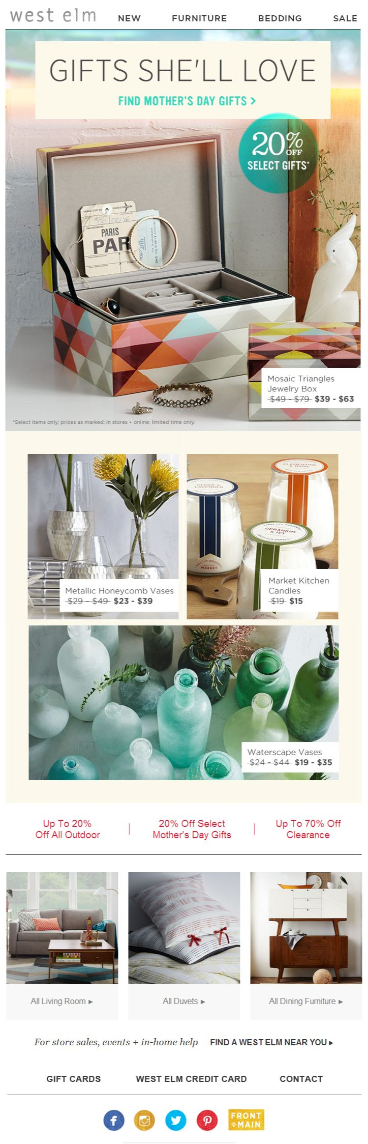 West elm newsletter design, email #home #mother newsletter