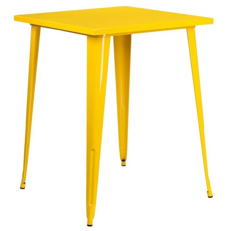 IHome Collins Square 31.5u0027u0027 Bar Height Yellow Metal Table For Indoor/Outdoor /