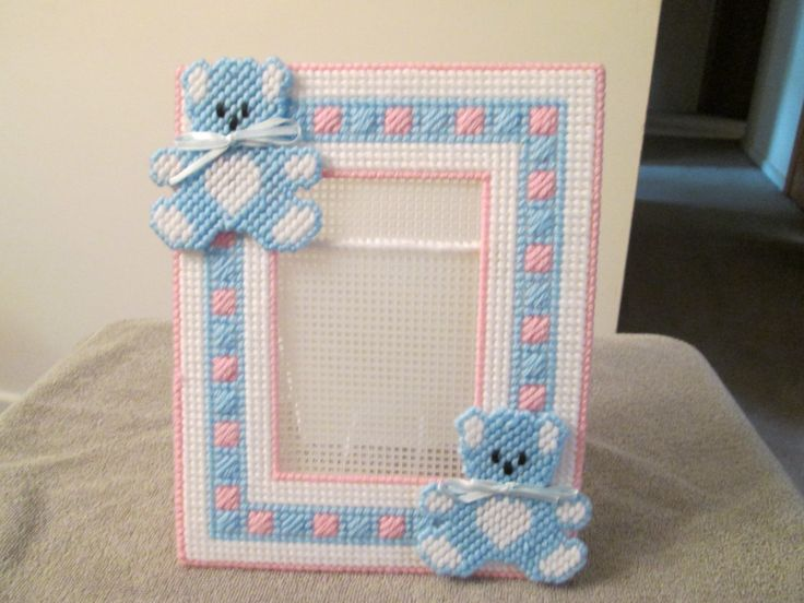 Photo Frame for Baby in Plastic Canvas by CraftsforSalebyJune on Etsy