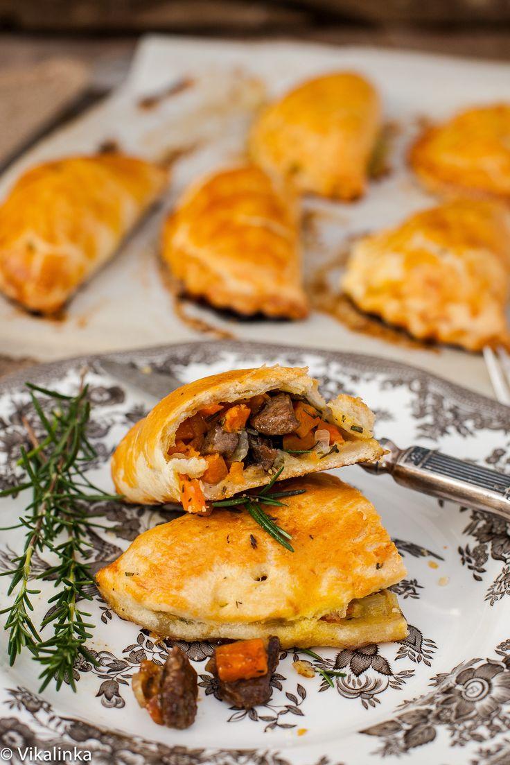 Pasties are British hand pies- savoury pastries filled with steak, sweet potato and butternut squash.  #british #cornishpasty