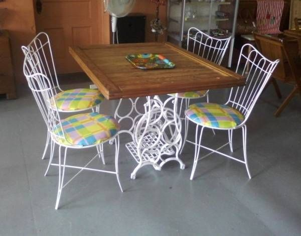 25 dining tables ktchen islands and office desks recycling vintage sewing machines - Kitchen Table Sewing