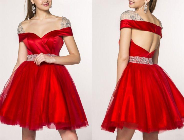 Gd326 Beauty Graduation Dress,Short Graduation Dress,V-Sleeve Graduation Dress,BacklessGraduation Dress